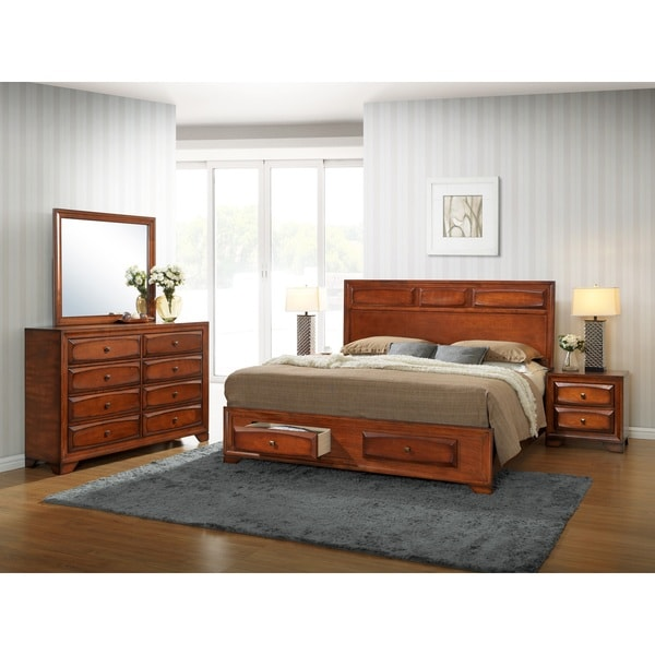 Shop oakland 139 antique oak wood queen size 5 piece - Queen size bedroom furniture sets ...