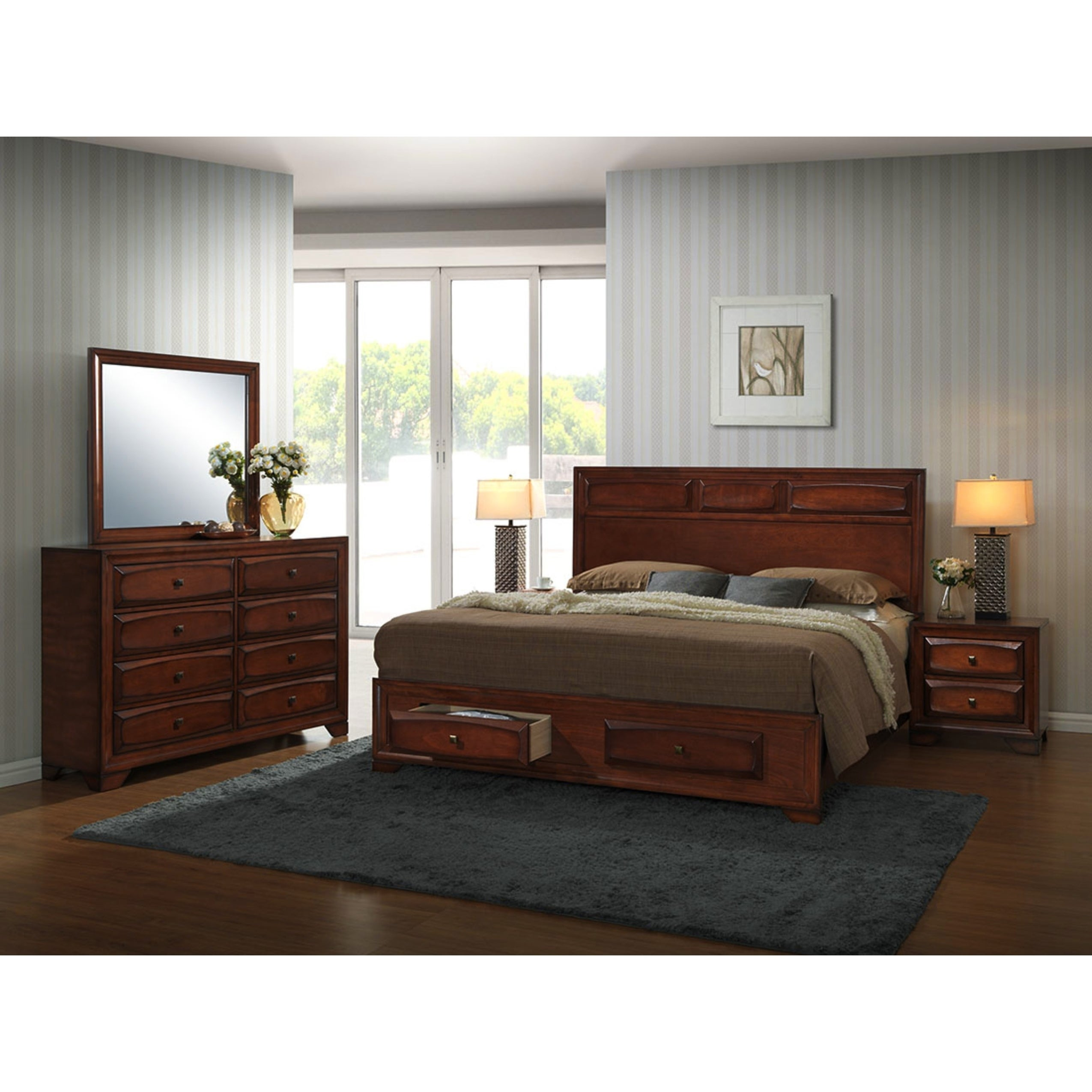Oakland 139 Antique Oak Wood Queen Size 5 Piece Bedroom Set