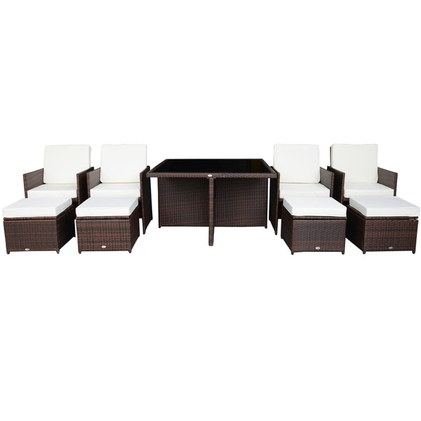Outsunny 9 Piece Outdoor Nesting Dining Set