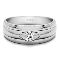 TwoBirch Sterling Silver Solitaire Cool Mens Ring Or Mens Wedding Ring With Diamonds (0.