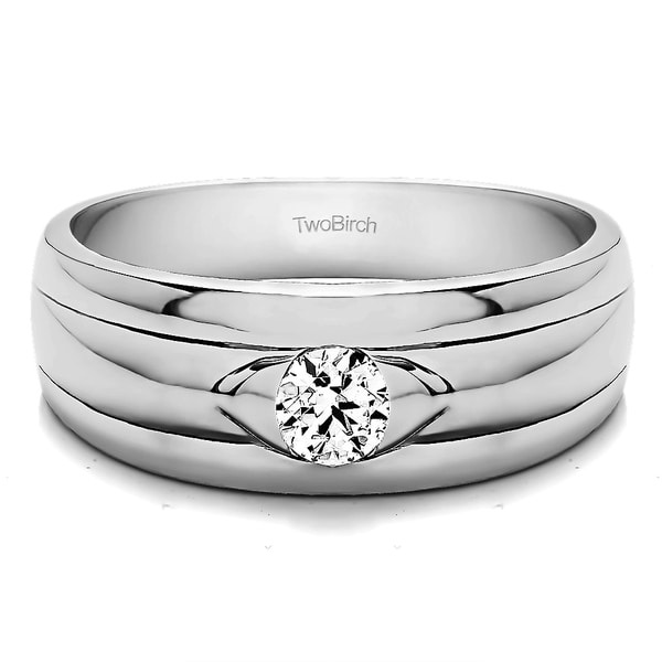 TwoBirch Sterling Silver Solitaire Cool Mens Ring Or Mens Wedding Ring With White Sapphire (0.25 Cts., colorl