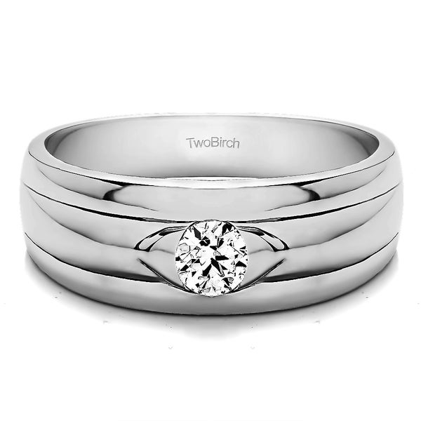 TwoBirch Sterling Silver Solitaire Cool Mens Ring Or Mens Wedding Ring With White Sapphire (0.51 Cts., colorl