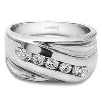 TwoBirch Sterling Silver Designer Men's Fashion Ring Or Cool Mens Wedding Band With White Sapphire (0.5 Cts.,