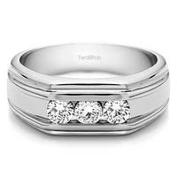 TwoBirch 10k White Gold Unique Men's Wedding or Fashion Ring With Diamonds (0.48 Cts.,
