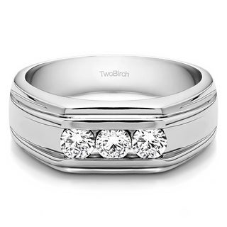 14k White Gold Unique Men's Wedding or Fashion Ring With White Sapphire (0.48 Cts., colorless, N/A)