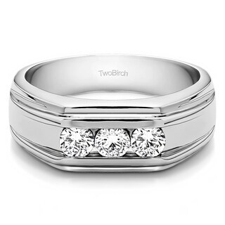 TwoBirch Sterling Silver Unique Men's Wedding or Fashion Ring With Diamonds (0.48 Cts., (More options available)