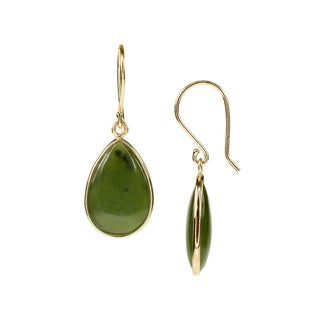 14k Gold Bezel-set Pear-shaped Jade Stone Accents Dangling Earrings