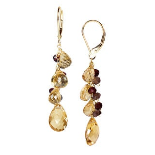 14K Yellow Gold Citrine, Garnet, Smoky Quartz Gemstone Drop Earrings