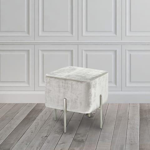 Modern Square Velvet Upholstered Foot Stool Ottoman