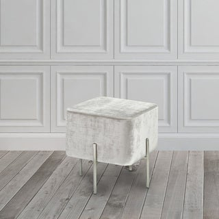 Velvet and Steel Cube Ottoman