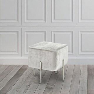 Velvet and Steel Cube Ottoman