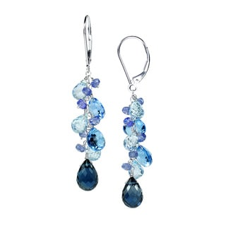 14k White Gold Multicolored Swiss/Sky/London Blue Topaz and Tanzanite Earrings