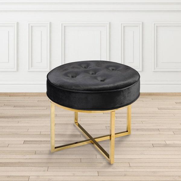 Modern Round Gold And Black Velvet Upholsterd Ottoman