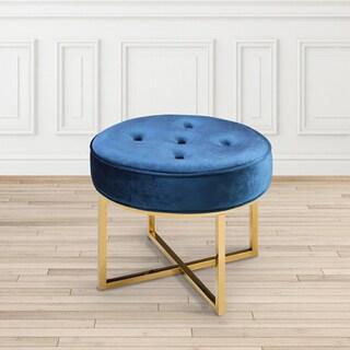 Modern Round Velvet Upholsterd Ottoman Stool