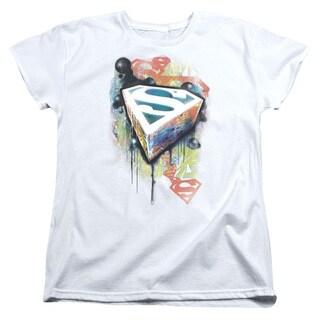 Superman/Urban Shields Short Sleeve Women's Tee in White