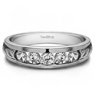 14k White Gold Unique Men's Wedding Ring or Unique Men's Fashion Ring With Diamonds (G-H,SI2-I1) (0.75 Cts., G-H, SI2-I1)