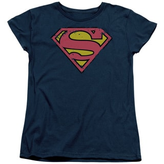 Superman/Distressed Shield Short Sleeve Women's Tee in Navy