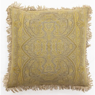 Boucle Mohra Gold Wool 20-inch Square Throw Pillow
