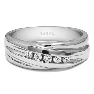 Sterling Silver Twist Style Men's Wedding Ring or Fashion Ring With Diamonds (G-H,I2-I3) (0.25 Cts., G-H, I2-I3)