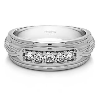 TwoBirch Sterling Silver Engraved Design Men S Wedding Ring With White Sapphire 0 25 Cts
