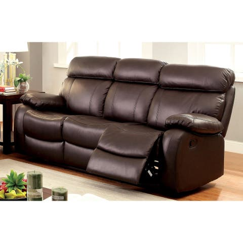 Furniture of America Nart Transitional Brown Faux Leather Manual Sofa