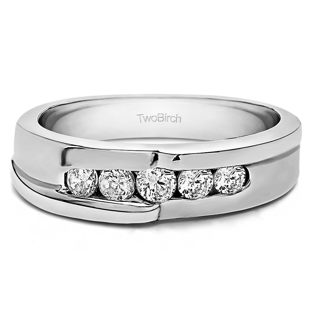 TwoBirch Sterling Silver Engraved Design Men 039 S