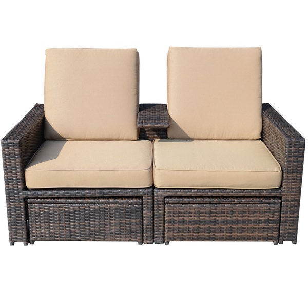 Outsunny Outdoor 3 Piece Pe Rattan Wicker Lounge Chair Set