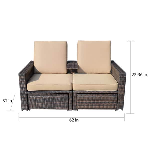Surprising Shop Outsunny Outdoor 3 Piece Pe Rattan Wicker Lounge Chair Caraccident5 Cool Chair Designs And Ideas Caraccident5Info