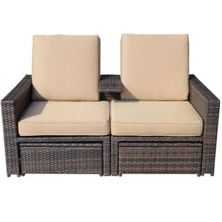 Outsunny Outdoor 3-piece PE Rattan Wicker Lounge Chair Set