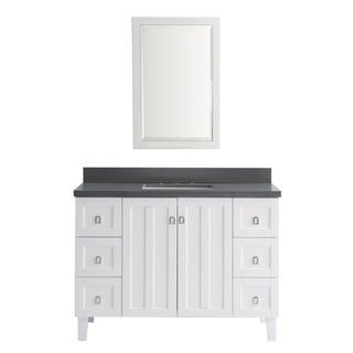 Contemporary Style 48-inch Grey Artificial Marble Top Single Sink Bathroom Vanity in White Finish with Matching Wall Mirror