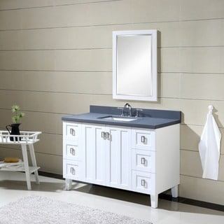Contemporary Style 48 inch Grey Artificial Marble Top Single Sink Bathroom Vanity in Brown Finish