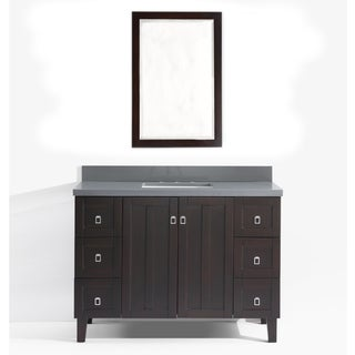 Contemporary Style 48 inch Grey Artificial Marble Top Single Sink Bathroom Vanity in Brown Finish with Wall Mirror