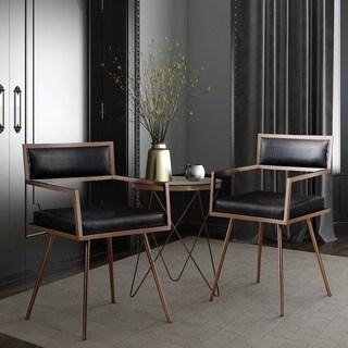 Marquee Mid Century Black Croc Arm Chair (Set of 2)