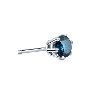Auriya 14k Gold 1/4ct TDW 6-Prong Push-Back Round-Cut Blue Diamond Single Stud Earring (Blue, SI2-SI3)
