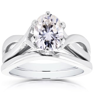 Annello by Kobelli 14k White Gold Forever Brilliant Oval Moissanite Solitaire Bridal Rings Set