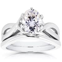 Annello by Kobelli 14k White Gold Near Colorless F-G Oval Moissanite Crossover Solitaire Bridal Rings Set
