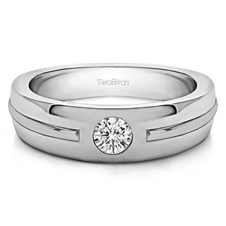 Sterling Silver Solitaire Mens Fashion Ring Or Mens Wedding Ring With Diamonds (G-H,I2-I3) (0.2 Cts., G-H, I2-I3)