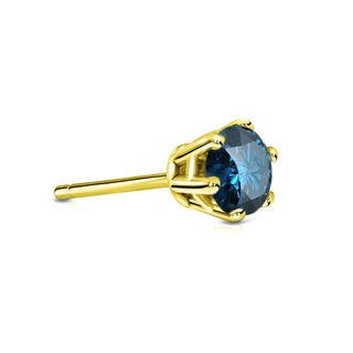 Auriya 14k Gold 1/3ct TDW 6-Prong Push-Back Round-Cut Blue Diamond Single Stud Earring (Blue, SI2-SI3)