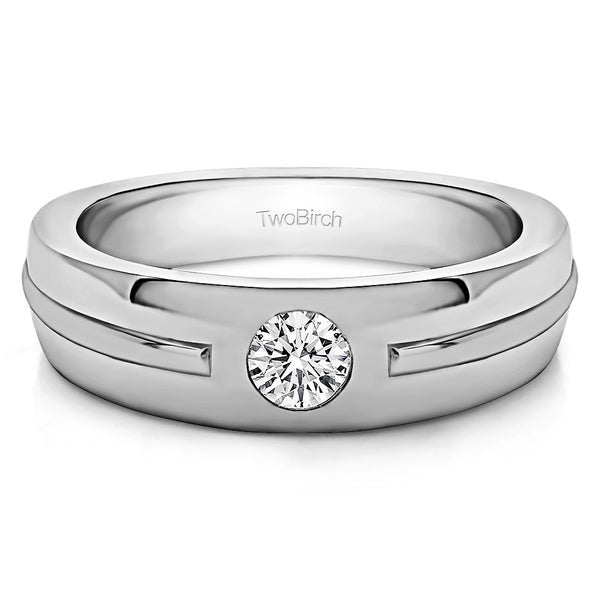 TwoBirch Sterling Silver Solitaire Mens Fashion Ring Or Mens Wedding Ring With White Sapphire (0.2 Cts., colo