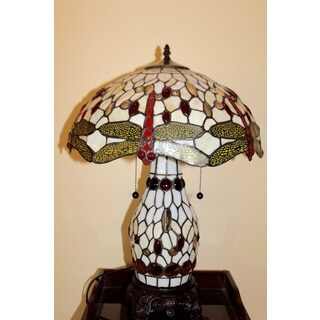 Serena D'italia Antique Bronze Glass/ Metal 16-inch Dragonfly Table Lamp With Lit Base