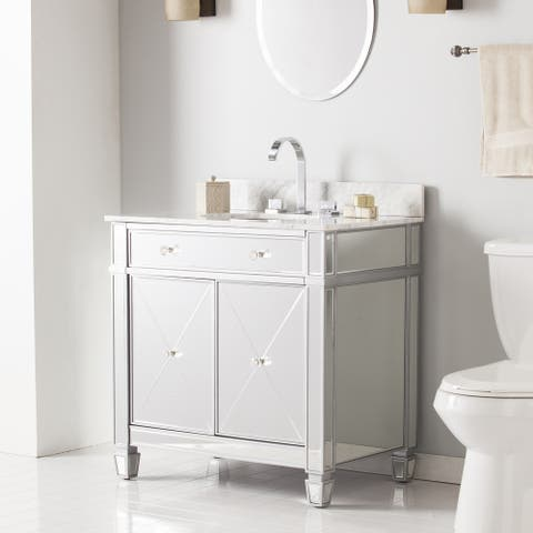 Sutcliffe Marble Top Double-Door Mirrored Bath Vanity Sink