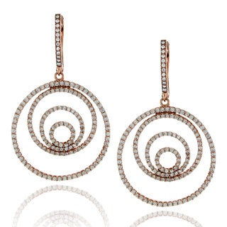 Suzy Levian Rose Sterling Silver Cubic Zirconia Earrings