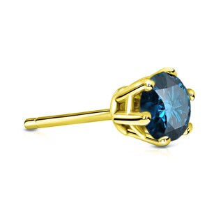 Auriya 14k Gold 3/4ct TDW 6-Prong Push-Back Round-Cut Blue Diamond Single Stud Earring (Blue, I1-I2)