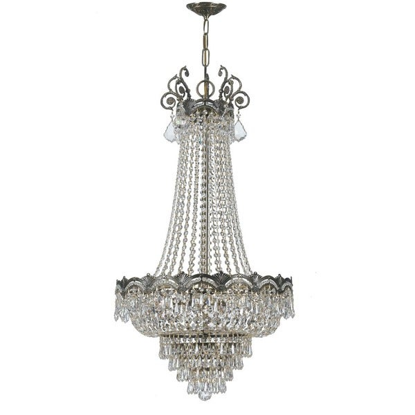 Crystorama Majestic Collection 8-light Historic Brass/Swarovski Elements Spectra Crystal Chandelier