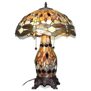 Serena D'italia 16-inch Honey Beige Dragonfly Table Lamp with Lit Base