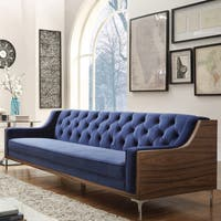 Chic Home Clark Velvet Modern Contemporary Button Tufted Swoop Arm with Walnut Finish Silvertone Chrome Y-leg Sofa