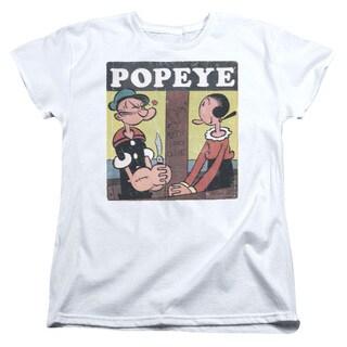 Popeye/Loves Olive Short Sleeve Women's Tee in White