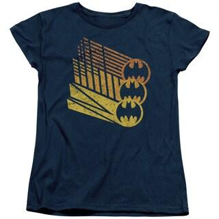 Batman/Bat Signal Shapes Short Sleeve Women's Tee in Navy