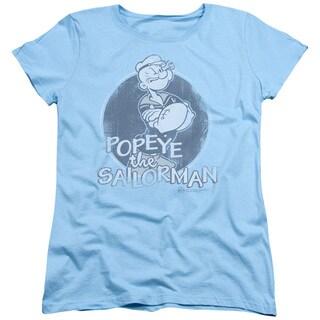 Popeye/Original Sailorman Short Sleeve Women's Tee in Light Blue