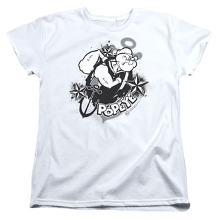 Popeye/Stars and Anchor Short Sleeve Women's Tee in White